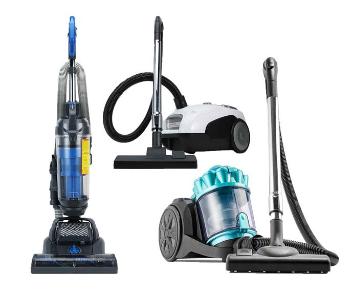Three Kmart vacuums on a white background