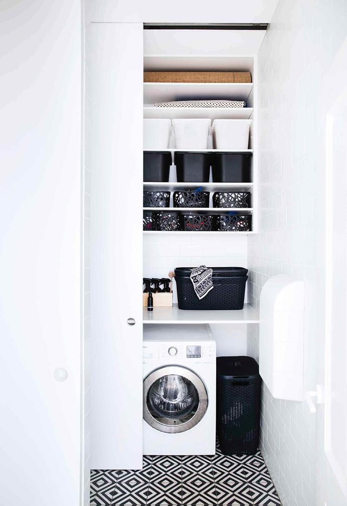 "The open-shelving in the laundry of this [relaxed terrace](https://www.homestolove.com.au/relaxed-terrace-paddington-18366|target=""_blank"") pairs storage with styling."