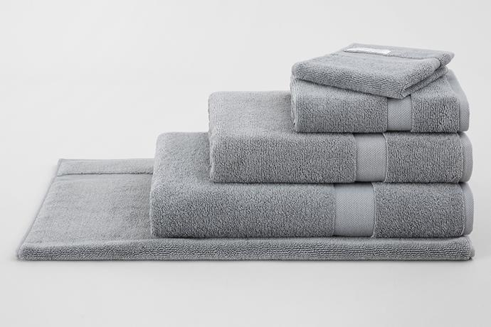 "Eden Bath Towel Organic Cotton With Lyocell in Blue Shadow, $54.95, [Sheridan](https://www.sheridan.com.au/eden-organic-cotton-towel-collection-s4ph-b114-c274-569-blue-shadow.html|target=""_blank""