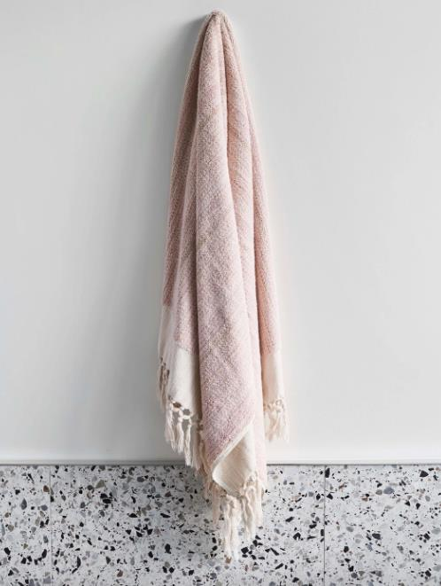"Medium Bath Towel in Blush, $149, [Loom Towels](https://loomtowels.com/collections/bath-towels/products/blush-medium-bath-towel|target=""_blank""