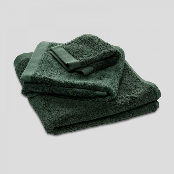 "100% Egyptian Cotton Towel in Forest, $60, [In Bed Store](https://inbedstore.com/shop/bath/towels/100-egyptian-cotton-towel-in-forest/|target=""_blank""
