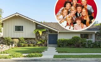 Brady Bunch house exterior with inset shot of Brady Bunch cast