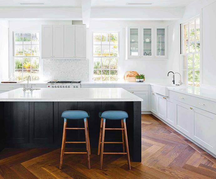 Classic country kitchen with herringbone timber floors