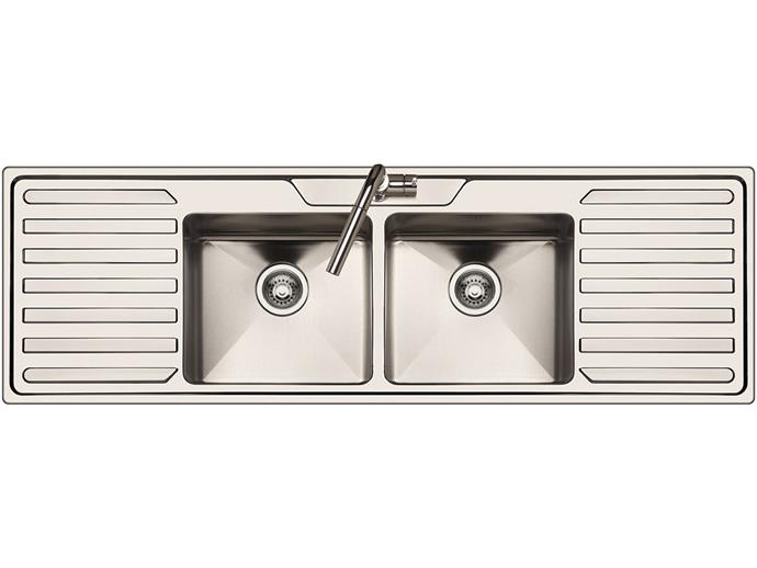 "AFA 'Cubeline' double bowl, double drainer inset **sink** in stainless steel, $1200, from [Reece](https://www.reece.com.au/product/sinks-troughs-c2512/sinks-c778/afa-cubeline-double-bowl-double-drainer-inset-sink-9508106|target=""_blank""|rel=""nofollow"")"