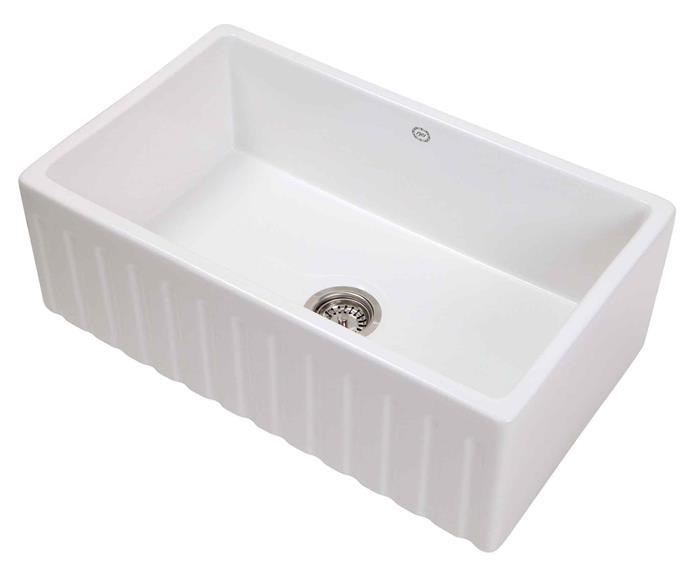 "1901 'Ribbleton' fluted kitchen **sink**, $1150, from [Restoration Online](https://www.restorationonline.com.au/1901-ribbleton-kitchen-sink-755-x-455-x-255-mm-including-basket-waste|target=""_blank""|rel=""nofollow"")"