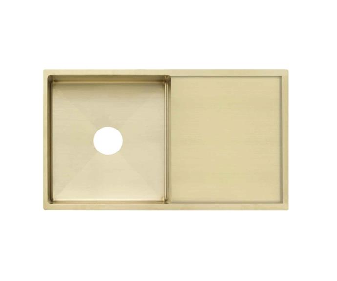 "'Jai' 880mm single kitchen **sink** in brass, $724.90, from [ABI Interiors](https://www.abiinteriors.com.au/shop/kitchen-sinks/jai-single-kitchen-sink-880mm-brass/|target=""_blank""|rel=""nofollow"")"