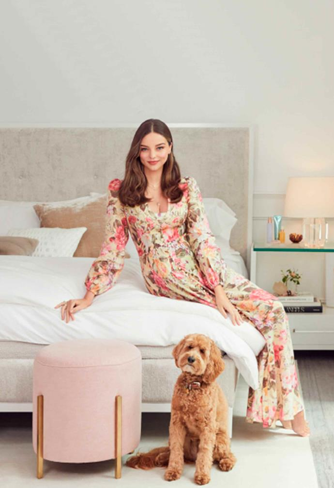 "The upholstered bed frame looks as luxe as you'd expect. *Image: [Universal Furniture / Miranda Kerr Home](https://www.universalfurniture.com/mirandakerrhome|target=""_blank""