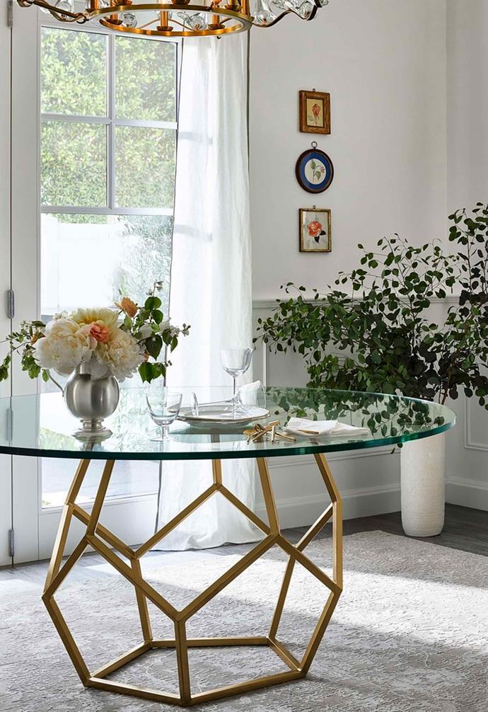 "The geometric brass base of this table creates a bold statement. *Image: [Universal Furniture / Miranda Kerr Home](https://www.universalfurniture.com/mirandakerrhome|target=""_blank""|rel=""nofollow"")*."