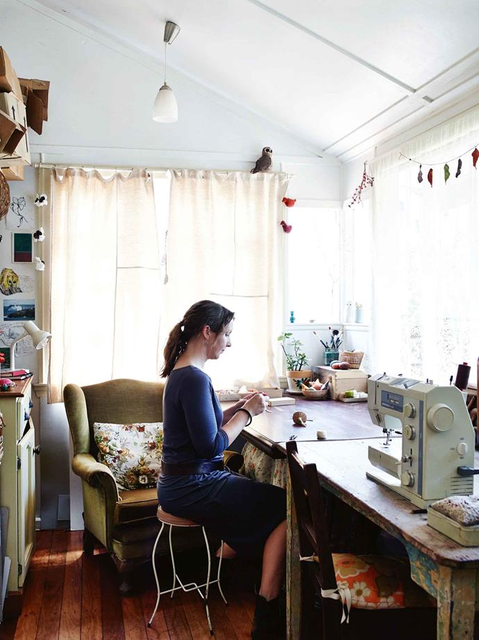 "Margeaux in her sewing room: ""I find sitting and making stitches is just so meditative."""