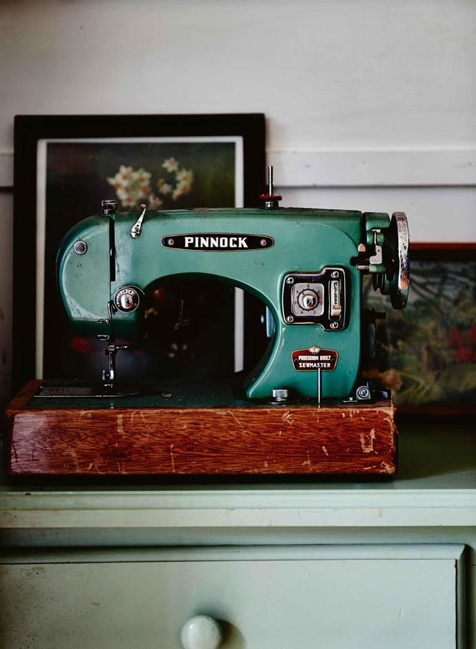 A vintage sewing machine in Margeaux's workshop.