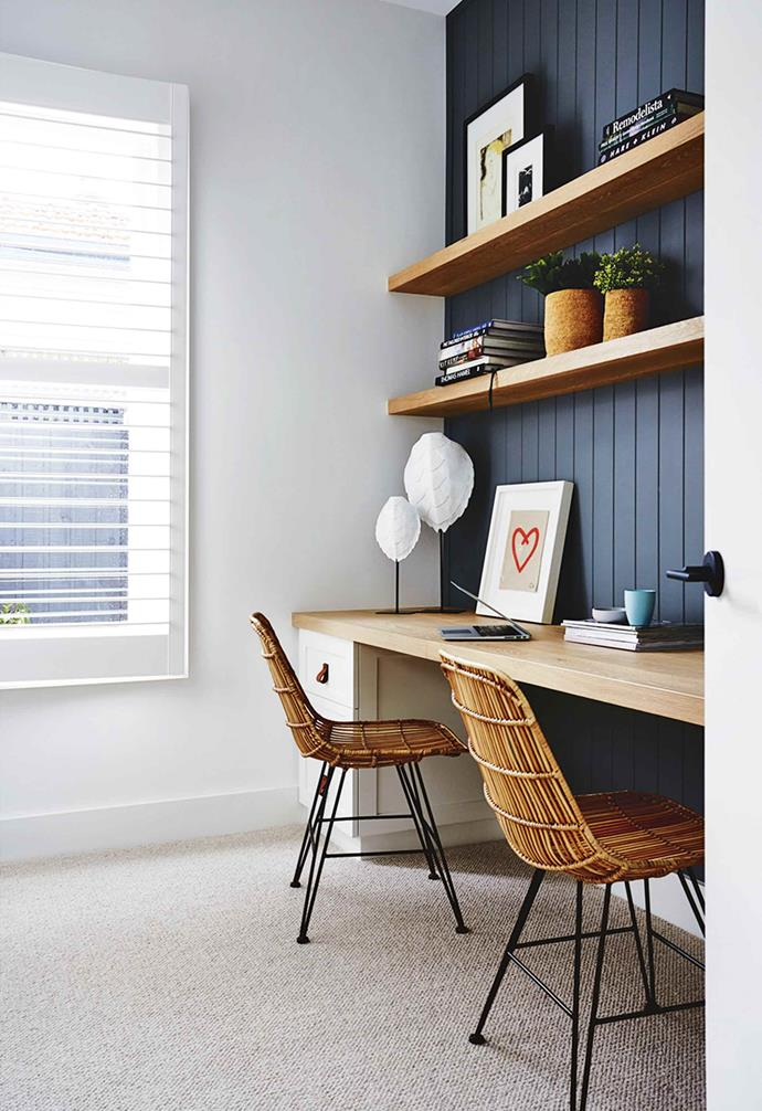 "**Group project** <br><br>A design fit for the whole family means a space that can handle multiple home-workers. A long desk with storage at either end and two chairs ensures space for two siblings, friends or partners. Painted wall panels are an easy way to add texture as can be seen in this [renovated worker's cottage](https://www.homestolove.com.au/deanne-darren-jolly-kew-east-renovation-18438|target=""_blank"").<br><br>"