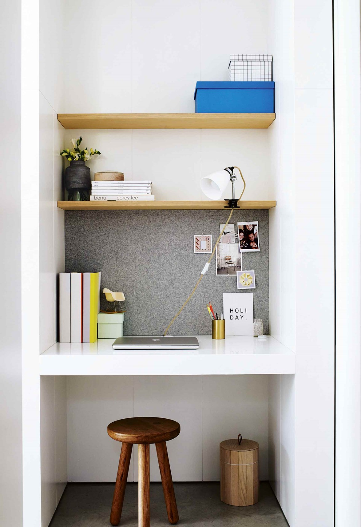 Even the smallest spot can become a functional study nook with a little creativity.