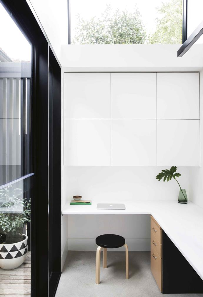 "**Smart storage** <br><br>With a budget that didn't run to custom joinery, the architect on this project worked creatively and designed the [study nook](https://www.homestolove.com.au/room-update-a-study-nook-under-the-stairs-1478|target=""_blank"") to fit standard flat-pack cabinets from IKEA. They're seamlessly integrated into the architecture and the all-white palette means their simple lines almost disappear.<br><br>"