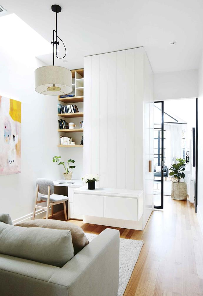 "**Shelf life** <br><br>Use every available space if you're working with a compact floor plan. This desk, complete with two filing drawers, was tucked into a small second living area, with open shelving all the way up to the high ceiling in this [renovated Scandi-style home](https://www.homestolove.com.au/scandi-style-glass-house-extension-17515|target=""_blank""). <br><br>"