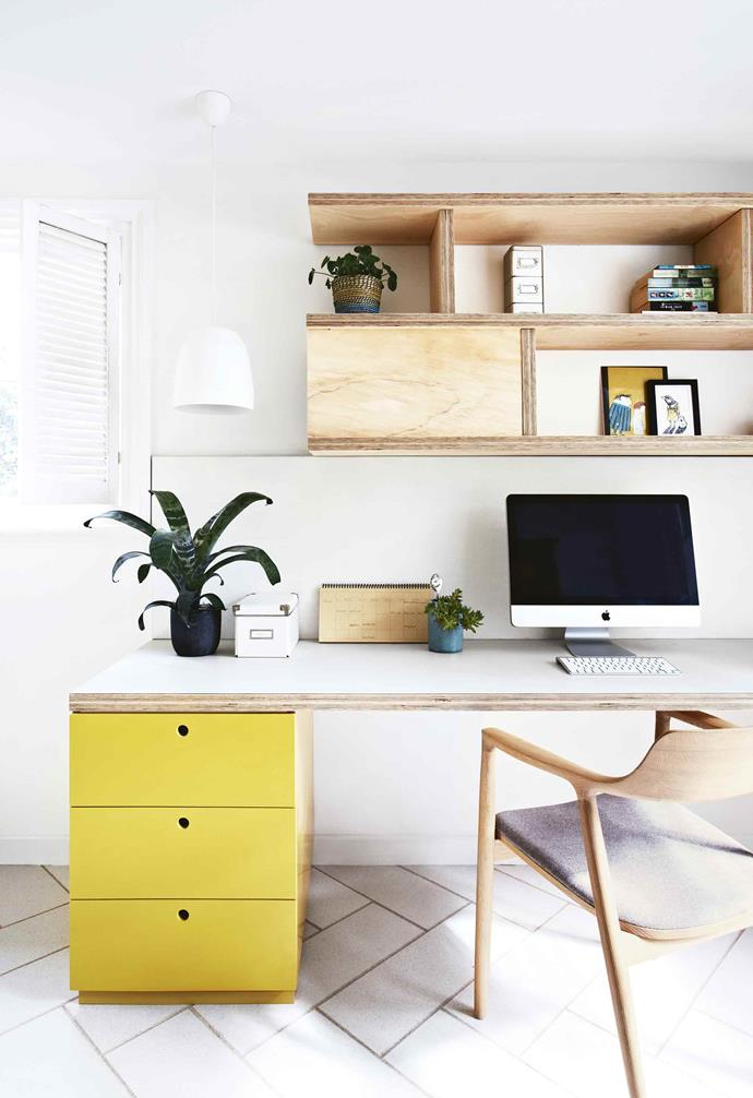 "**Bright spark** <br><br>Keep things inspiring with colour – a burst of sunny yellow adds a playful touch to this [home office](https://www.homestolove.com.au/12-smart-home-offices-3309|target=""_blank""). The wall shelving and desk are made from plywood with a clear coating, which can be a more cost-effective material for custom joinery. The desktop is laminated for practicality.<br><br>"