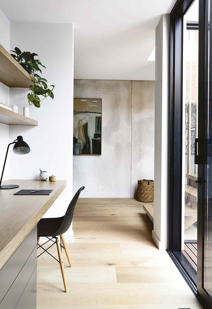 "**Serene scene** <br><br>Look for transitional zones within your home's layout to build in joinery. This study area, flooded with natural light from an [internal courtyard](https://www.homestolove.com.au/internal-courtyards-19415|target=""_blank""), is tucked between a living area, staircase and kitchen but feels generous, and includes both open and closed storage. **Artwork:** Painting by [Graeme Altmann](http://manyunggallery.com.au/