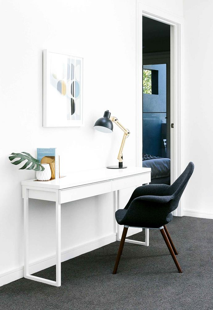 **Narrow it down** <br><br>A slim console table can double as a desk, if it's not needed for frequent use or long hours, and gives you more flexibility with its placement. With a comfy chair and good lighting, a hallway or landing might just be exactly what you need for some short-term productivity.<br><br>