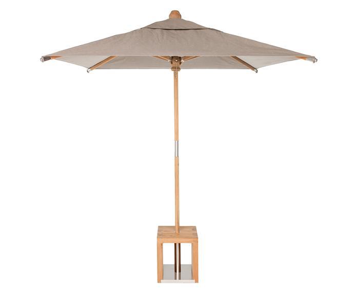 "Ayr umbrella, $1499, [Eco Outdoor](https://www.ecooutdoor.com.au/products/outdoor-furniture/outdoor-umbrellas/umbrella/ayr/|target=""_blank""|rel=""nofollow"")"