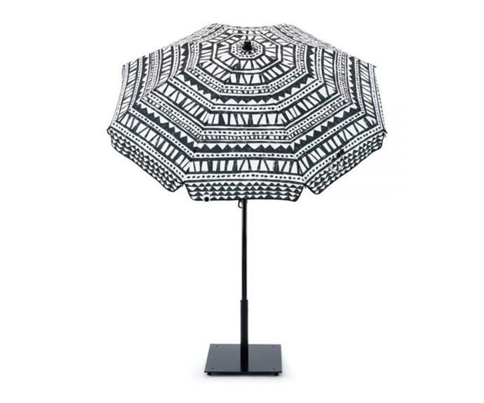 "Bermuda Outdoor Sun Umbrella, $151.95, [Zanui](https://www.zanui.com.au/Outdoor-Sun-Umbrella-Bermuda-147889.html|target=""_blank""|rel=""nofollow"")"