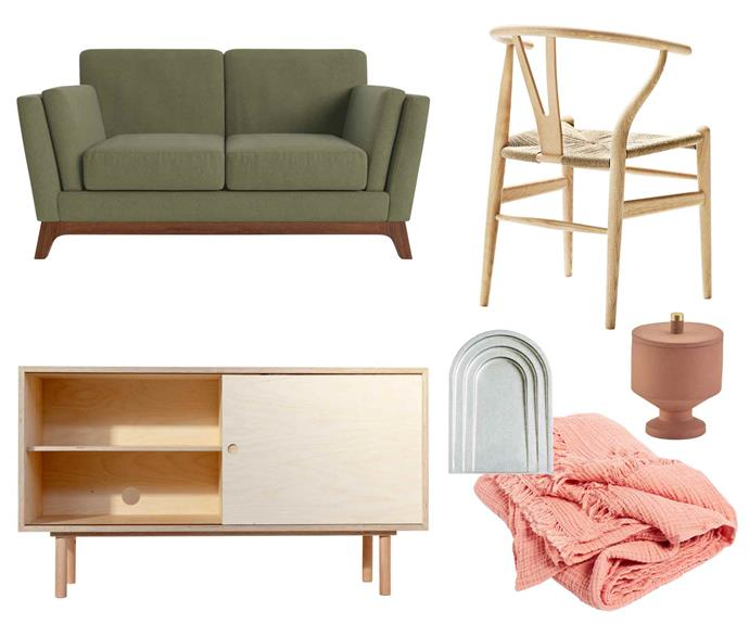 "**Modernist mix** (clockwise from left) John 2-seater sofa in Periodot Olive, $999, [Brosa](https://www.brosa.com.au/|target=""_blank""