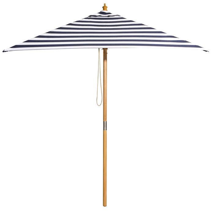 "Billy Fresh Navy & White Striped St. Tropez Market Umbrella, $199, [Temple & Webster](https://www.templeandwebster.com.au/2m-Navy-and-White-Striped-St.-Tropez-Market-Umbrella-127147-BFRE1006.html|target=""_blank""|rel=""nofollow"")"