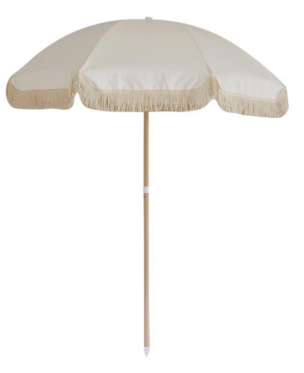 "Lunar Beach Umbrella, $219, [Land & Sand Essentials](https://www.landandsandessentials.com.au/products/beach-umbrella-lunar|target=""_blank""|rel=""nofollow"")"