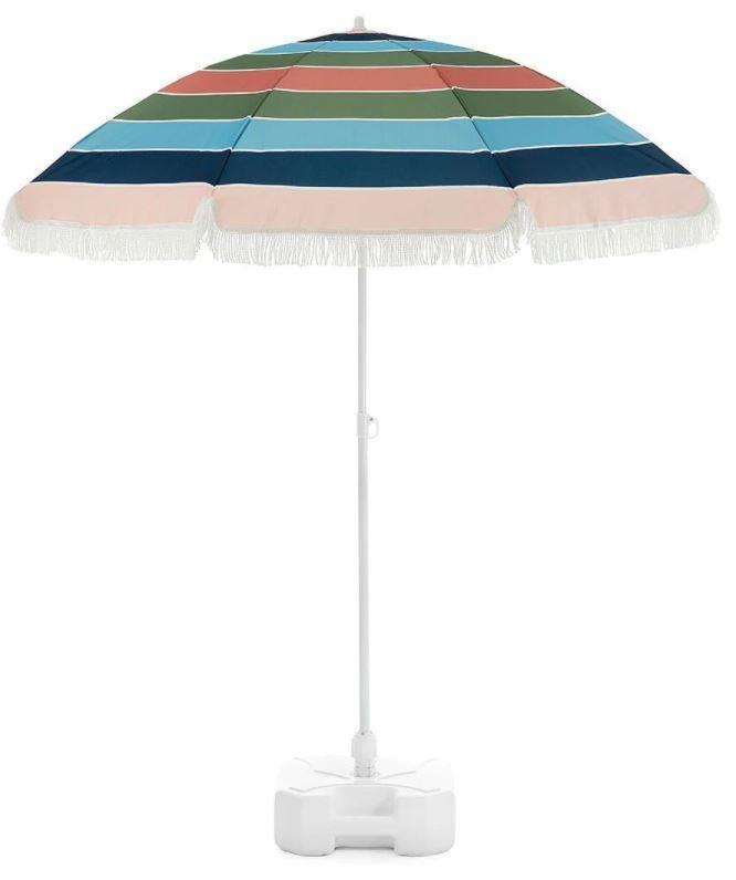 "2 Metre Colour Stripe Beach Umbrella, $29, [Target](https://www.target.com.au/p/2-metre-colour-stripe-beach-umbrella/62589659|target=""_blank""|rel=""nofollow"")"