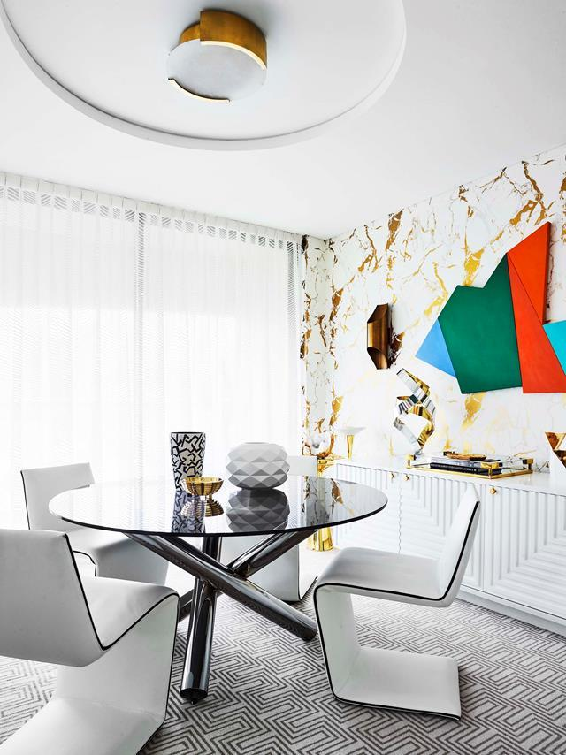 """Inspired by the interiors of an iconic 1970s Broadway nightclub - Studio 54 - Greg used art; colour and an explosion of pattern to deliver this astonishingly [cohesive space](https://www.homestolove.com.au/inside-interior-designer-greg-natales-darlinghurst-apartment-18842