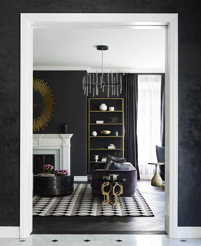 """Greg indulged his love of dark hues in the sophisticated interiors of this [grand Melbourne home](https://www.homestolove.com.au/layered-and-luxe-georgian-style-mansion-3608