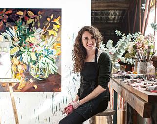 Artist Laura Jones in her painting studio