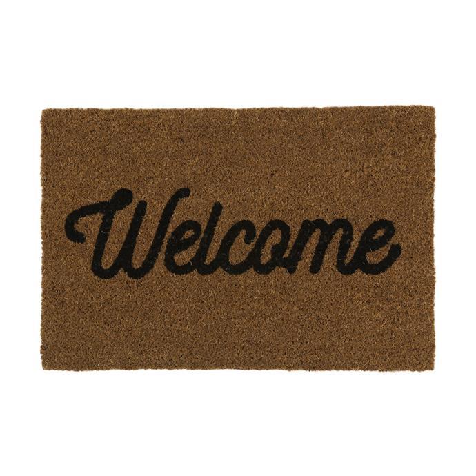 """[Welcome Coir Mat, $10](https://www.kmart.com.au/product/welcome-coir-mat/1961366 target=""""_blank"""" rel=""""nofollow"""")"""