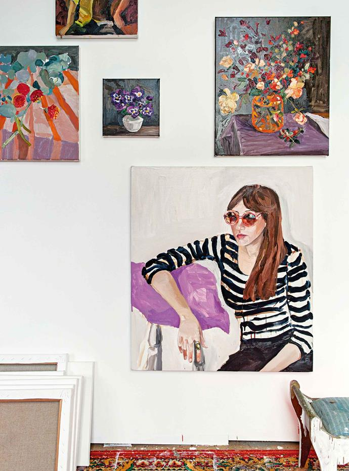 A wall of Laura's recent paintings.