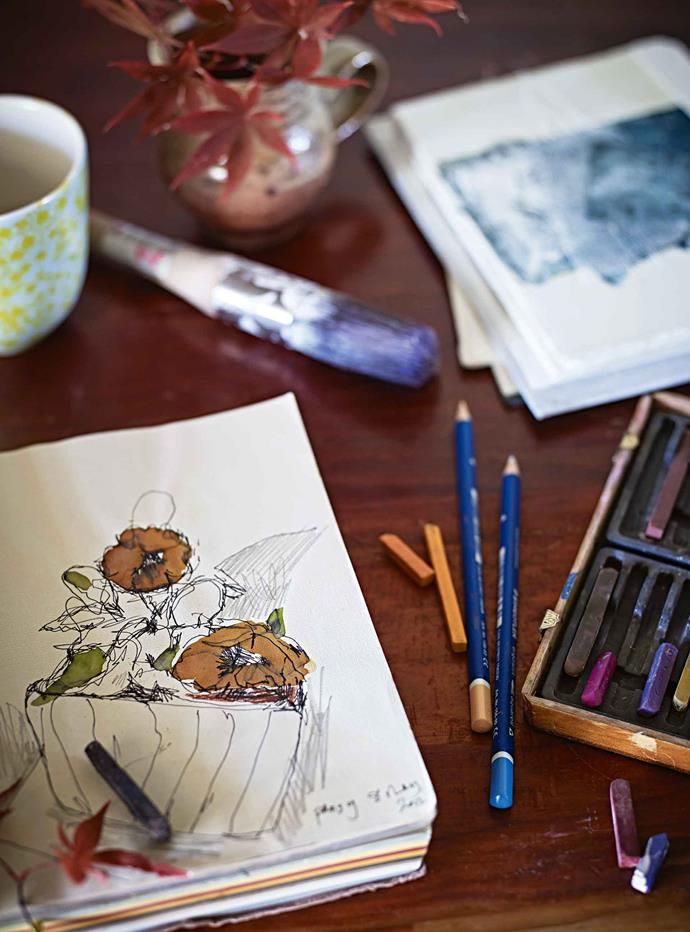 Sketchbooks that will inspire future paintings.