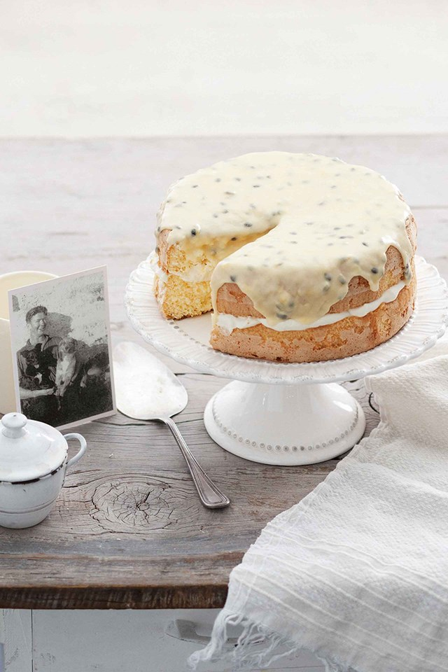 """**[BILL BEVAN'S PASSIONFRUIT SPONGE CAKE](https://www.homestolove.com.au/heirloom-recipe-bill-bevans-passionfruit-sponge-cake-10548