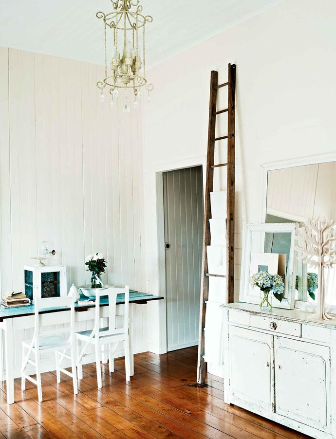 """An apple-picker's ladder displays pieces from Cathy's prized [French linen](https://www.homestolove.com.au/how-to-pick-the-best-bedlinen-for-you-4649