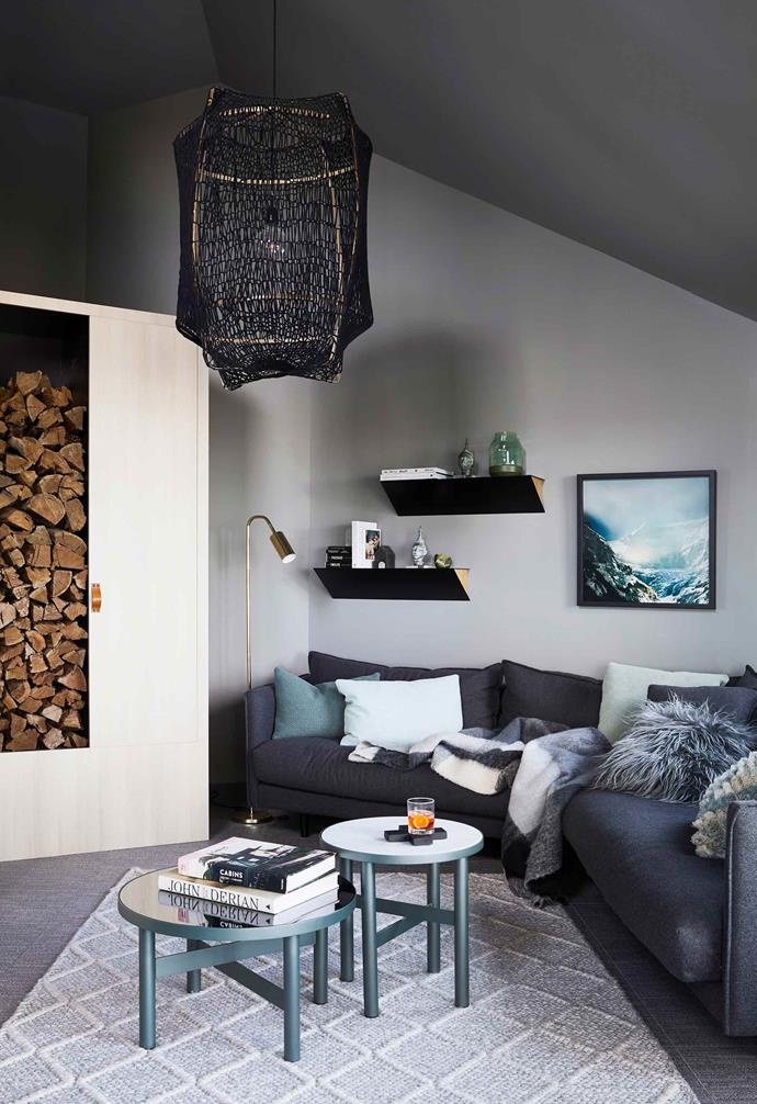 "**Living area** Design elements such as custom joinery (for firewood storage and display) and floating shelves from [Fenton & Fenton](https://www.fentonandfenton.com.au/|target=""_blank""