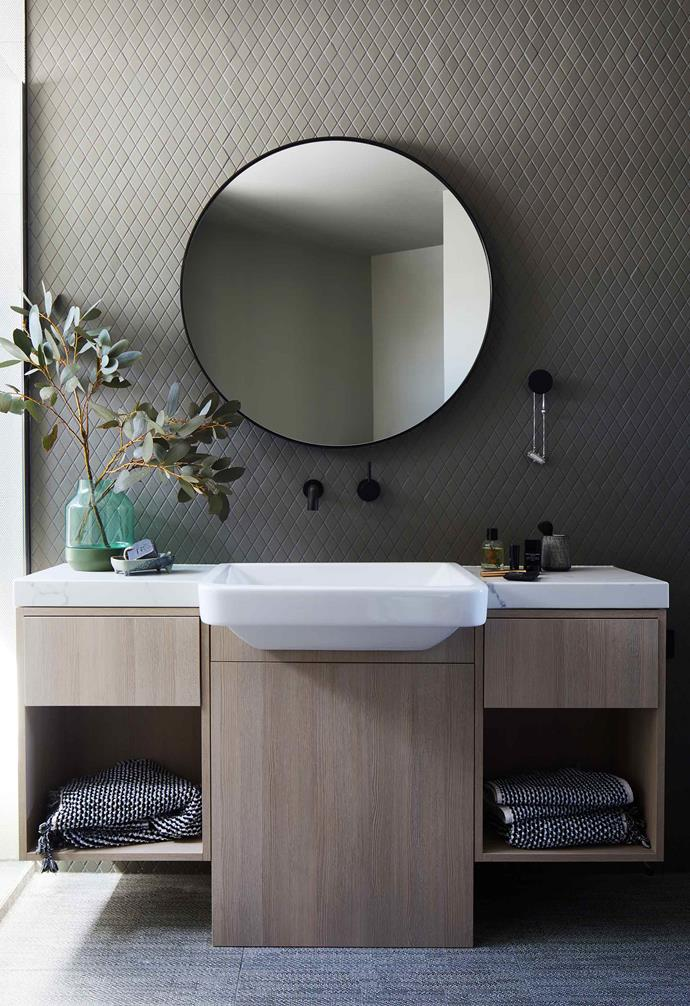 "**Bathroom** Diamond porcelain tiles from [Urban Edge Ceramics](https://www.urbanedgeceramics.com.au/|target=""_blank""