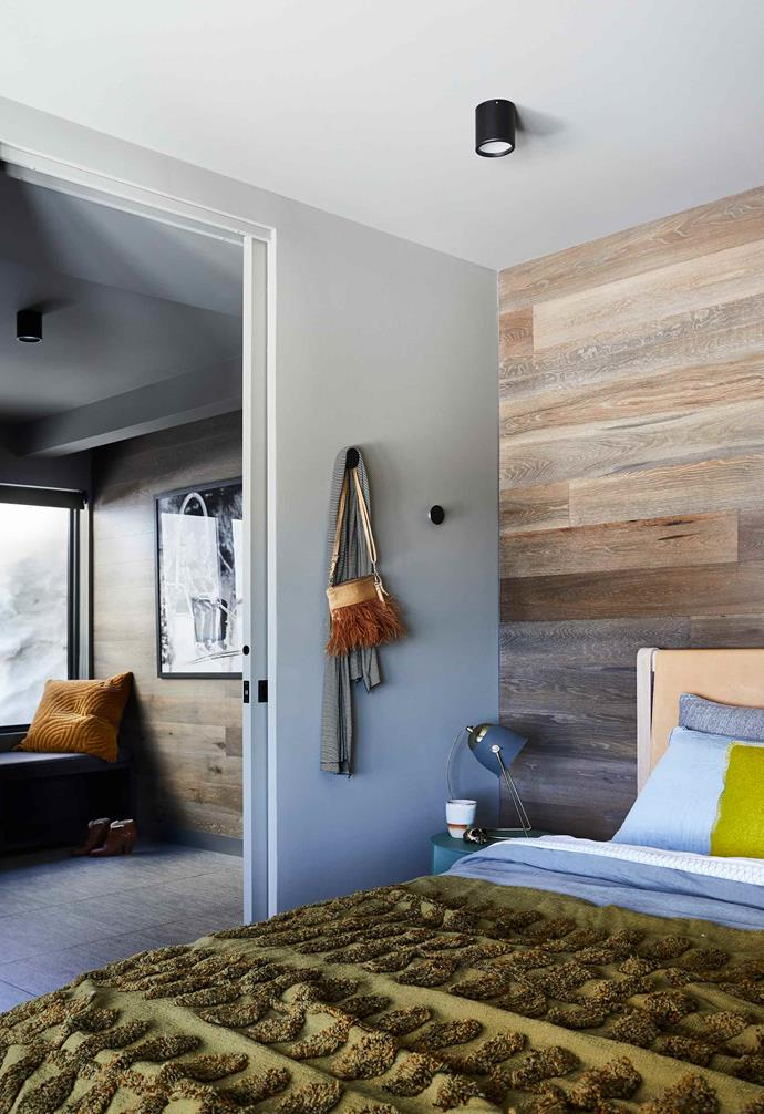 "**Main bedroom** French Grey timber cladding from [Royal Oak Floors](https://royaloakfloors.com.au/|target=""_blank""