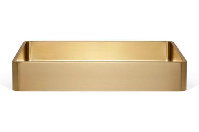 "Ora basin sink - brass, $629, [Abi Interiors](https://www.abiinteriors.com.au/|target=""_blank""|rel=""nofollow"")."
