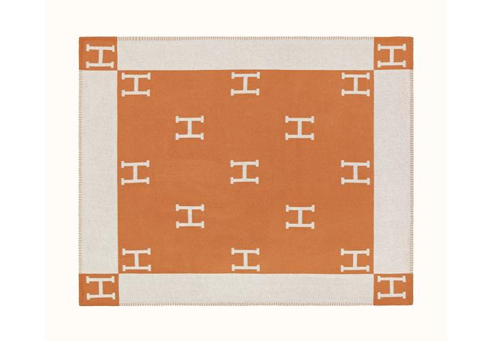 "Hermès 'Avalon' throw, $2180, at [Hermès](https://www.hermes.com/au/en/product/avalon-throw-blanket-H102668Mv58/|target=""_blank""
