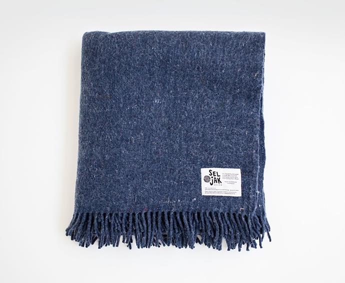 "'Indigo' recycled wool blanket, $349, at [Seljak Brand](https://www.seljakbrand.com.au/collections/all/products/indigo-fringe|target=""_blank""