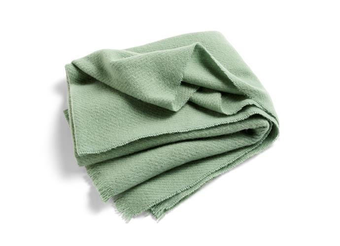"'Mono' blanket in Verdi green, $170, at [Hay](https://hayshop.com.au/collections/accessories/products/mono-blanket-wool-130x180-verdi-green|target=""_blank""