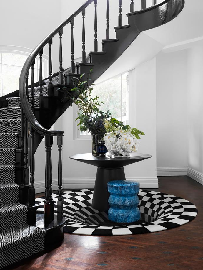 The quirky rug from Designer Rugs is a favourite. The staircase, an original feature, was reinvigorated with a custom runner from Korda Design.
