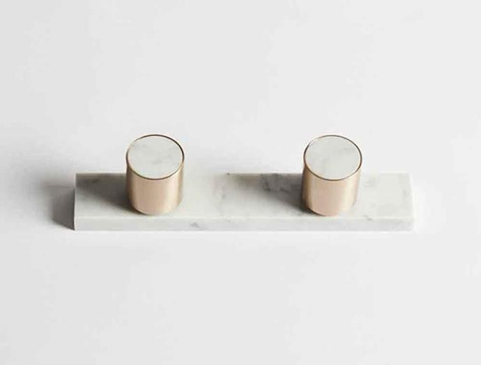 """**MINIMALIST**<p> <p>'Mabel' round marble and brass **taps**, $700, from [Wood Melbourne](https://woodmelbourne.com/products/mabel-marble-and-brass-taps