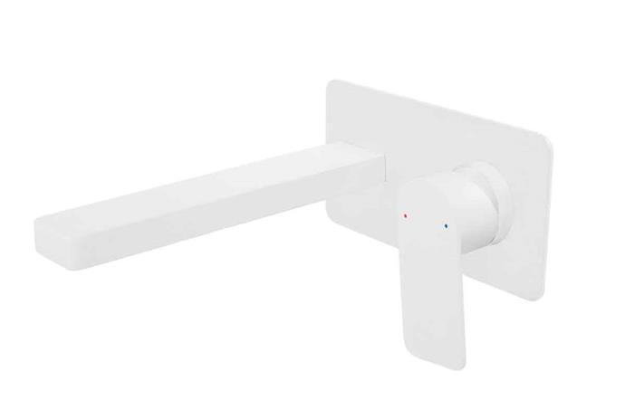 "**WHITE**<p> <P>Jamie J Cosmopolitan Wall basin **tap set** in matte white, $446, from [Mimicoco](https://www.mimicoco.com.au/cosmopolitan-wall-basin-set-matte-white/|target=""_blank""|rel=""nofollow"").<P>"