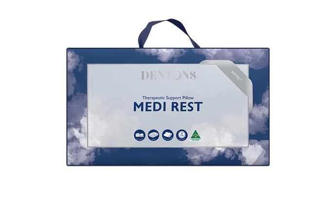 "[Dentons Medi Rest pillow, $129.95](https://www.dentons.com.au/products/|target=""_blank""|rel=""nofollow"")"