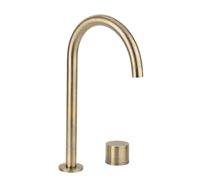 """**ON TREND**<p> <p>'Milani' hob mixer **tap set** in brushed brass, $339.90, from [ABI Interiors](https://www.abiinteriors.com.au/shop/browse-by-colour/brass-tapware/milani-basin-hob-mixer-set-brushed-brass-2/