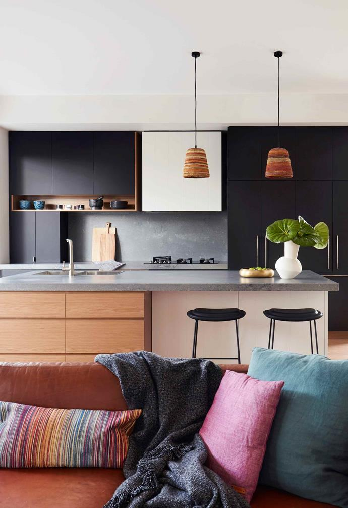 "**Kitchen** The design revolves around a pair of Yuta Badayala pendant lamps from [Koskela](https://koskela.com.au/|target=""_blank""
