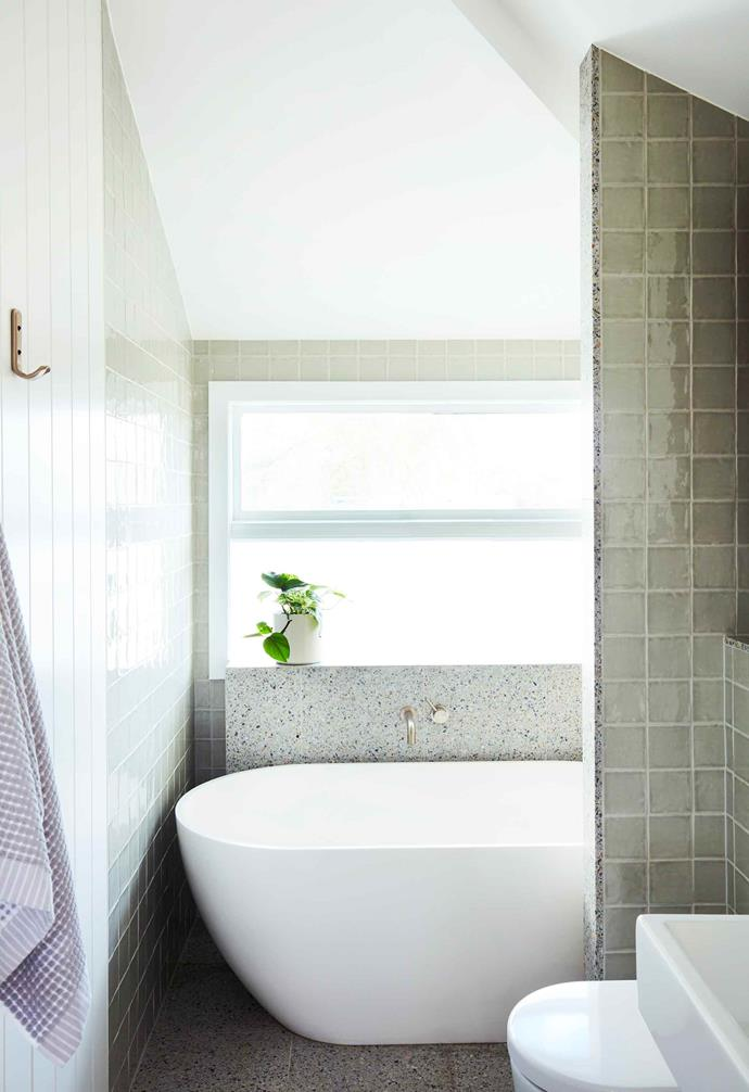 **Bathroom** A vision of green wall tiles, terrazzo flooring and a welcoming Clearwater 'Formoso' bath.