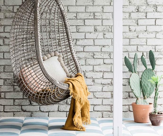 Hanging egg chair next to two potted cactus plants